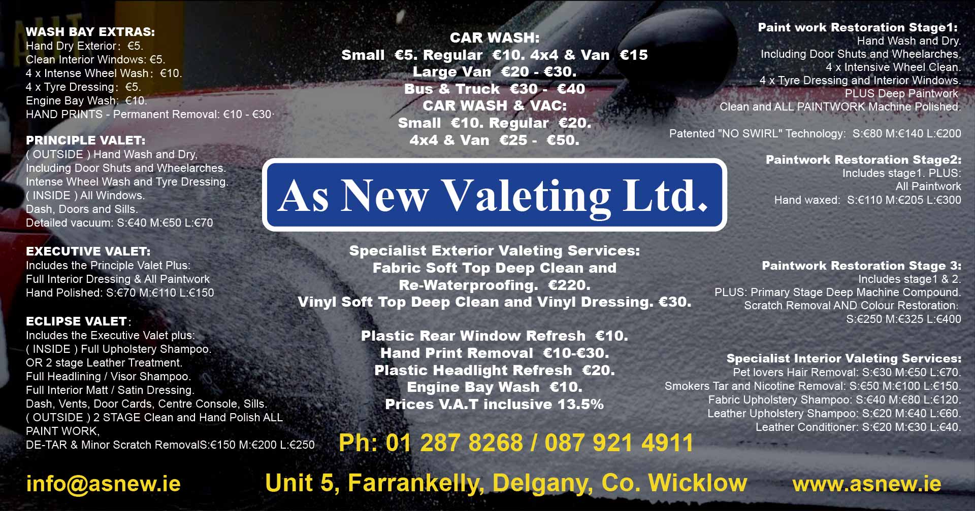 Car Wash Prices: As New Car Wash & Valeting Greystones, Delgany